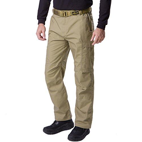 FREE SOLDIER pour Homme décontracté Quatre Saisons Multi Poches Cargo Pantalon randonnée Chasse Sports de Plein air Pantalon, Homme (Marron, L)