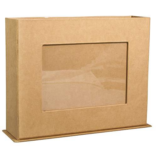 Rayher 67279521 Pappmaché Box mit Fotorahmen, kraft, 19,5 x 5,5 x 15 cm, Bildausschnitt 9 x 13 cm, FSC zertifiziert, Bilderrahmen, zum Selbstgestalten