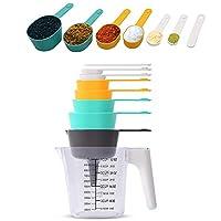 set di misurazione da cucina,9 pezzi set di misurini e cucchiaio,misurini colorati,misurino in plastica,cucchiai dosatori,misurino graduato,per cucina cottura per misurare utensile da cucina