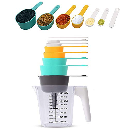 Tazas de Medir y Cucharas Medir,9 Piezas Cucharas Medidoras Plástico Cucharas,Tazas Medidoras...