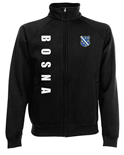AkyTEX Bosnien Bosna EM-2020 Sweatjacke Wunschname Wunschnummer Schwarz L
