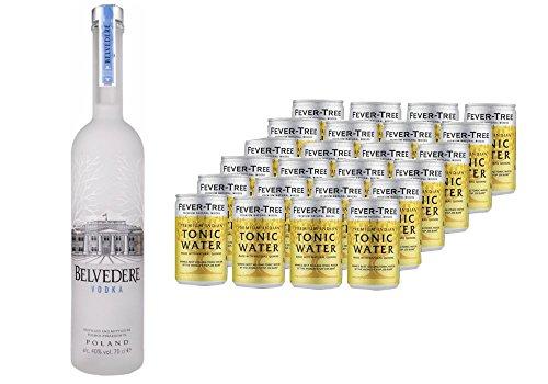 BelvedereWodka (1x0.7 l) mit Fever-Tree Premium Indian Tonic Water, Dosen, EINWEG (24 x 150 ml)