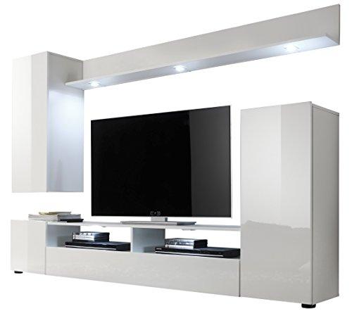 trendteam smart living Wohnzimmer Anbauwand Wohnwand Dos, 208 x 165 x 33 cm in Weiß Hochglanz  ohne Beleuchtung