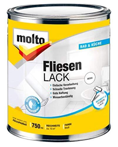 0,75L Molto Fliesenlack weiss Fliesen Lack Bad Küche Sanitär