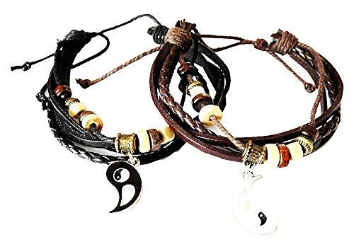 2 armbanden - yin yang - armbanden - multilayer - multiwire - touw - kunstleer - beste vrienden - kerstmis - origineel cadeau-idee - sieraden - verjaardag - bruin