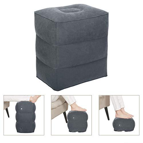Aufblasbares Bettkeilkissen mit Velouroberfläche, Keilkissen Sitzkissen Sitzkeilkissen, zum Schlafen, auf Reisen - mit horizontalen Einkerbungen zum Vermeiden von Abrutschen, 60x55x18-4.5cm