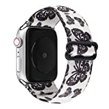 Adjustable Elastic Wristband Bracelet Stretchy Nylon Band Stylish Art Design Loop Strap Compatible with 40mm 38mm Apple Watch SE/Series 6 5 4 3 2 1, White/Butterfly