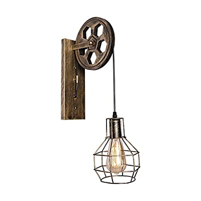 1-Light Wall Sconce Lift Pulley Industrial Lighting Fixture Brass Color Industrial Lamp Shade with Matte Iron Cage Rustic Iron Light,for Barn Farmhouse Indoor Decorative