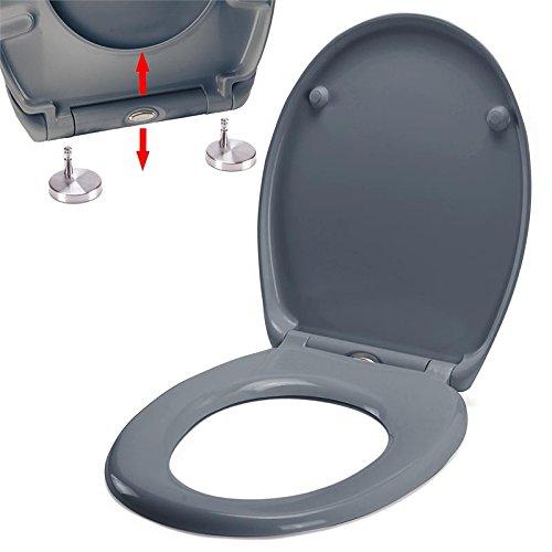 spirella Premium Toilettendeckel oval Klodeckel mit Quick-Release-Funktion und Softclose Absenkautomatik. Antibakterielle Klobrille aus Duroplast und rostfreiem Edelstahl abnehmbar - Grau