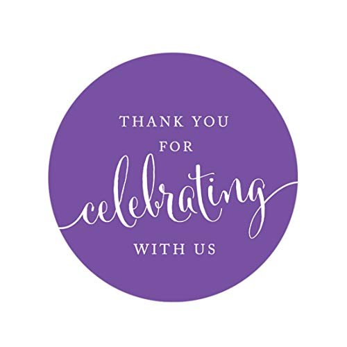 Andaz Press Circle Gift Label Stickers, Thank You For Celebrating With Us, Purple, 40-Pack, Round Thanks Label For Baby Bridal Wedding Shower, Anniversary Celebration, Graduation, Outdoor Event, Picnic, Luau, Christmas Hanukkah Holiday Party, Sweet 16 Quinceanera Birthday, Kids Birthday Party, Baptism, Christening, Confirmation, Communion Party Favors, Gifts, Boxes, Bags, Treats and Presents