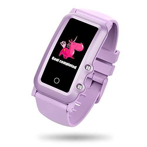 BIGCHINAMALL Fitness Armband GPS Uhr für Kinder Mädchen Junge Teenager, Smartwatch Schrittzähler Pulsuhr und Schlafmonitor Aktivitätstracker(Lila)