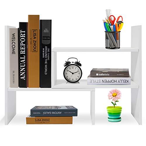 Hossejoy Bücherregal, Einstellbar Standregal Bücherregal, Bücher Halter für Regal, Erweiterbar Standregal Holzregal aus Holz für Büro, Wohnzimmer (Weiß)