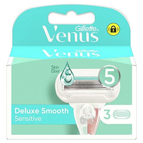 Gillette Venus Deluxe Smooth Sensitive Lame di Ricambio per Rasoio da Donna, Confezione da 3, 5 Lame...