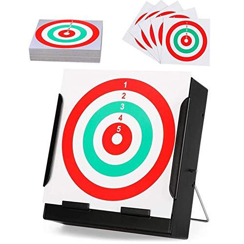 YOMERA Soporte para Objetivo de Tiro para Dianas De 14x14cm/de Metal/Soporte de Dianas para Rifles/Pistolas CE Aire Comprimido con 100 Objetivos