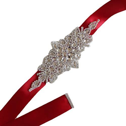 Kaned - Cintura con strass, realizzata a mano, cintura per matrimoni, per abito nuziale, cintura decorativa per abiti, colore: rosso vino