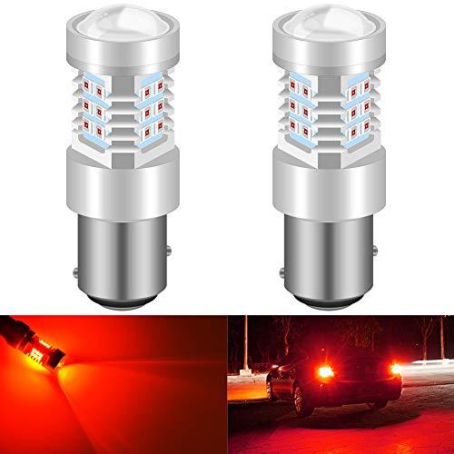KATUR 1157 BAY15D 7528 1016 Bombillas LED de Alta Potencia 2835 21 Chipsets con reemplazo de proyector para Luces traseras Luces de Freno Luces Intermitentes, Rojo Brillante (Paquete de 2)