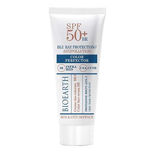 BIOHEART - Sun & City Defense - Crema facial SPF 50+ Perfector de color - con filtros UVA, UVB, IR y fotoprotección BLU RAY - Fórmula coloreada - Vegan - 50 ml