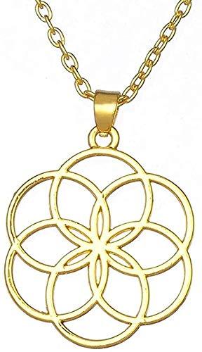 Collar Color dorado Forma de Rou Flor de la vida Peant Collar religioso Joyería de mujer