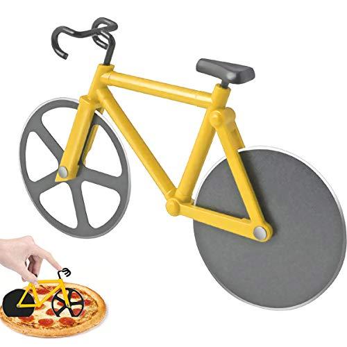 BoloShine Cortador de Pizza Bicicletas, Acero Inoxidable Cortapizzas Corta Ruedas Cuchilla con Recubrimiento Antiadherente y Soporte para Hogar Cocina Regalo