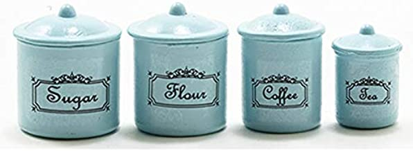 2 Green Square Canister//Cookie Jar with removable lid Dollhouse Miniatures