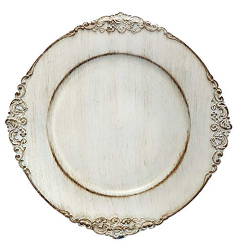 Tiger Chef 12-Piece 13-inch Royal Antiqued White Round Vintage Dinner Charger For Plates, Wedding Reception Chargers Plate Chargers For Table Settings Disposable Hard Round Heavyweight Charger Plates