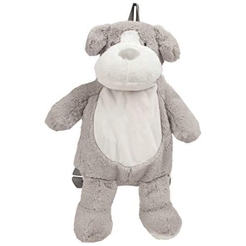 Kinderrucksack Buddy der Hund - Kuscheltier und Plüsch Rucksack für Kinder ab 1 Jahr in Grau - zb als Mini Wanderrucksack, Kitatasche oder Beutel für Spielzeug - Kindergartenrucksack Jungen