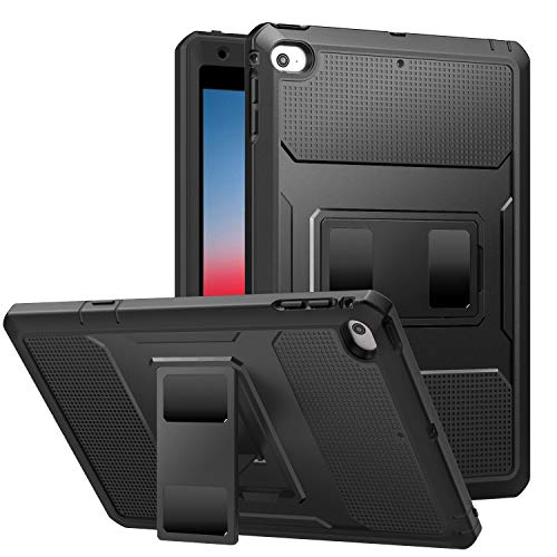 MoKo Case Fit New iPad Mini 5 2019 (5th Generation 7.9 inch) - [Heavy Duty] Shockproof Full Body Rugged Hybrid Cover with Built-in Screen Protector - Black
