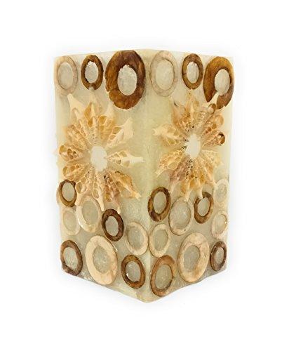 Dremic S.L. Photophore fabriqué à la main en Espagne – cube en fibre de verre incassable décoré avec de véritables coquillages en forme d'escargot – Longueur : env. 10 cm, hauteur : env. 18 cm, couleur : rouge