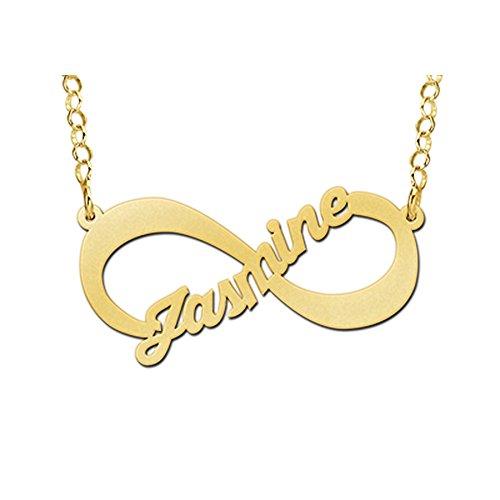 Namesforever Infinity-hanger met ingebeelde naam naar keuze incl. gouden ketting