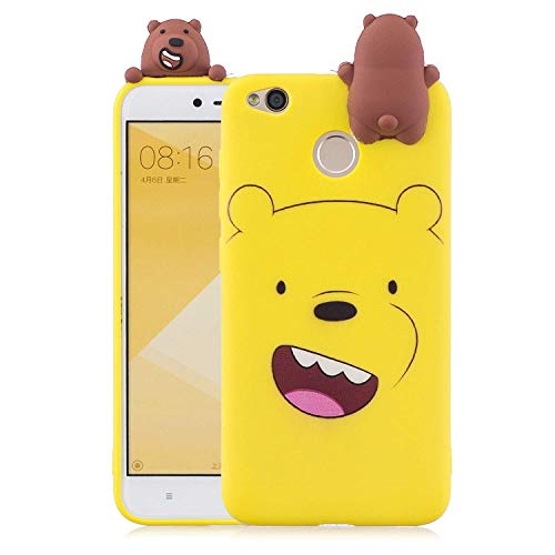 Phone Cover for Xiaomi Redmi 4, LAXIN Soft Silicone Bumper Back Case with Bear - Yellow Pattern Anti-Shock Anti-Slip Hybrid Soft Slim TPU Shockproof Smart Shell for Xiaomi Redmi 4X