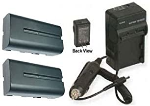 2 Batteries + Charger for Sony MVC-FD75, Sony FD83, Sony FD85, Sony FD87, Sony FD88, Sony FD90, Sony FD91, Sony FD95, Sony FD97