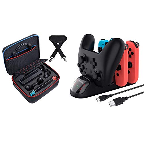 Kootek Carrying Case for Nintendo Switch and Controller Charger Dock for Nintendo Switch Joy-Cons and Pro Controller
