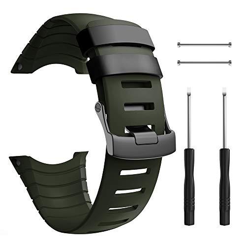 Best compatibel met de Suunto Core band, de rubberen accessoires band en de polsbandje van TPU. Reservebanden met metalen sluiting. Compatibel met de Suunto Core Smartwatch, legergroen