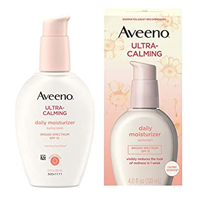 Aveeno Ultra-Calming Daily Facial Moisturizer for Sensitive, Dry Skin with Broad Spectrum SPF 15 Sunscreen, Calming Feverfew & Nourishing Oat, Oil-Free & Hypoallergenic, 4 fl. Oz q by Aveeno