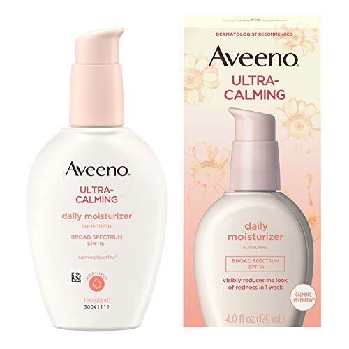 Aveeno Ultra-Calming Daily Facial Moisturizer for Sensitive, Dry Skin with Broad Spectrum SPF 15 Sunscreen, Calming Feverfew & Nourishing Oat, Oil-Free & Hypoallergenic, 4 fl. Oz q