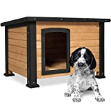 Best Choice Products Wooden Weather-Resistant Log Cabin Dog House Pet Shelter,...