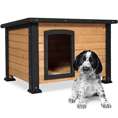 Best Choice Products Wooden Weather-Resistant Log Cabin Dog House Pet Shelter