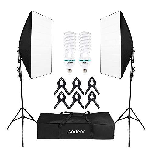 Andoer Softbox Kit Luce Fotografia da Studio Professionale, Softbox da 50 * 70 cm + 150W 5500K Lampadine x 2 + 2m Stativo + 6 clip + Borsa per Trasporto, Illuminazione Fotografica Luce Set (2 PCS)