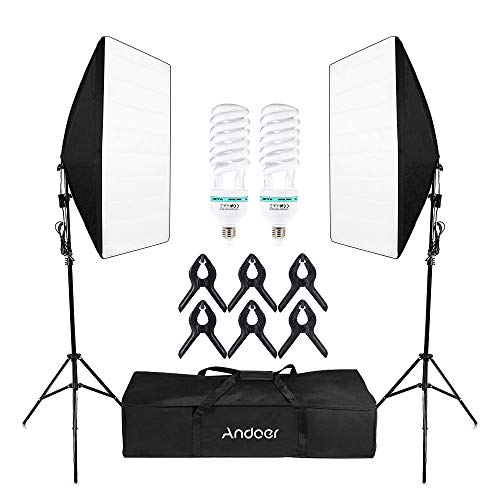 Andoer Softbox Kit de Iluminación, Kit de Estudio Fotográfico Profesional Light 5500K con 2 * 135 W Photolamps, 2 * Light, 2 * Softbox, 6 * Clips, 1 * Bolsa de Transporte
