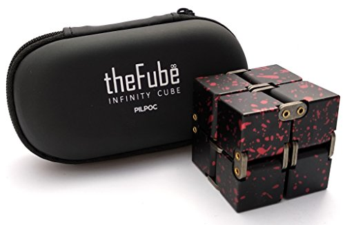 PILPOC theFube Fidget Cube Infinity Cube Desk Toy - Premium Quality Aluminum Infinite Magic Cube with Exclusive Case, Sturdy, Heavy, Relieve Stress and Anxiety, for ADD, ADHD, OCD (Black & Red)