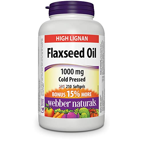 Webber Naturals Cold Pressed Certified Organic Flaxseed Oil Softgel, 1000mg