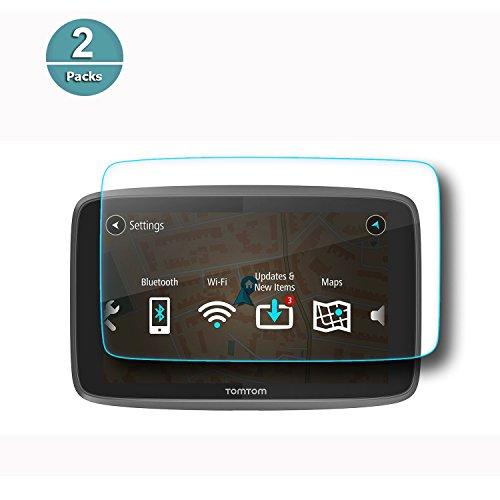 RUIYA Hartglas Schutzfolie für T* o-m GO 620 6200 6250 GPS Navigationssystem, unsichtbare & durchsichtige Folie, Crystal Clear HD Bildschirmschutz, Anti-Kratz-【6 Zoll】 (Zwei Stück)