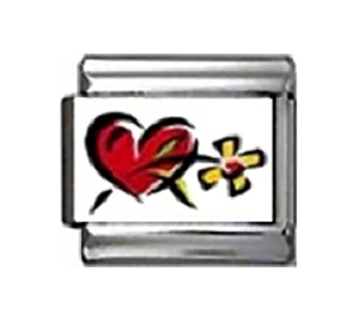 Stylysh Charms Love Heart with Daisy Photo Italian 9mm Link LV051 Fits Nomination Classic
