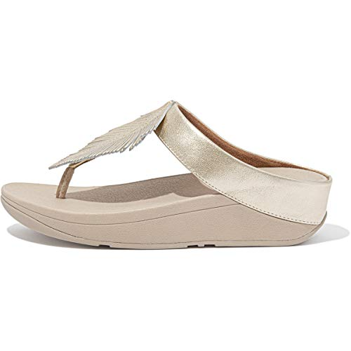 FitFlop Women's Fino Feather Toe-Post Sandals Wedge, Platino, 11