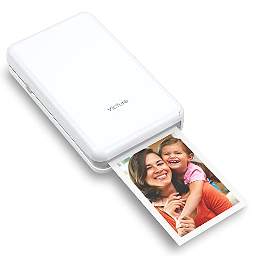"""Victure 2x3"""" Portable Photo Printer, Bluetooth Connection, Wireless Rechargeable Including 8 Pieces of Photo Paper, Android/iOS/Tablet Devices Compatible, 4 Pass Technology"""