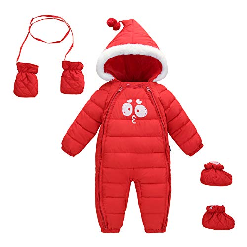 Toddler Zipper Hooded Romper 3 Pieces All in OneInfant Solid Warm Snowsuit Baby Long Sleeve Fleece Jumpsuit with Feet & Gloves Size 90 Red