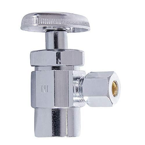 Midline Valve 71212QS-OM Water Supply Stop Valve with Multi-Turn Wheel;Angle Shut-off for Toilet, Sink, Dishwasher, Heater; 1/2 in. Sweat x 3/8 in. O.D. COMP; Chrome Plated Brass