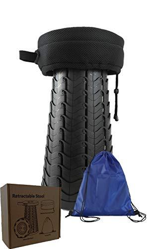 Bro.Ben Klapphocker - Falthocker mit Sitzkissen und Tragetasche / Teleskophocker - Campinghocker leicht, stabil und höhenverstellbar