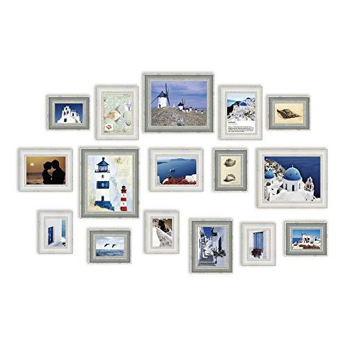 Conjunto de Marcos de Fotos con 16 Imágenes, Marco de Fotos, Conjunto de Marcos de Fotos de Pared con 16 Marcos de Alta Calidad, Conjunto de marcos de fotos de pared grande, 1.08m x 2.05m, Mejores Decoraciones de Pared, Marcos de Fotos Vintage (RD16C)
