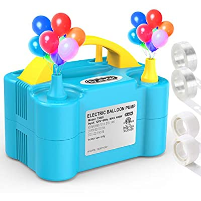 Dr. Meter Electric Balloon Air Pump, 110V 600W Portable Balloon Blower/Inflator with Dual Nozzle for Decoration/Party/Wedding/Birthday/Celebration/Ceremony/Christmas, Blue